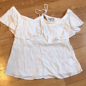 Express size small off the shoulder white ruffle